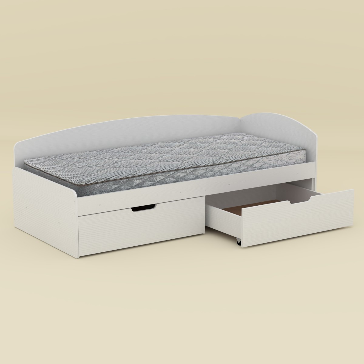 Кровать 90+2С белая Компанит (95х204х70 см)