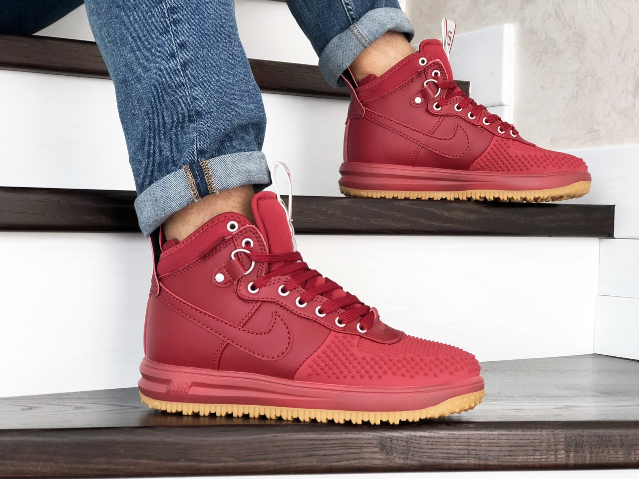 Кроссовки (в стиле) Nike Lunar Force 1 Duckboot,красные