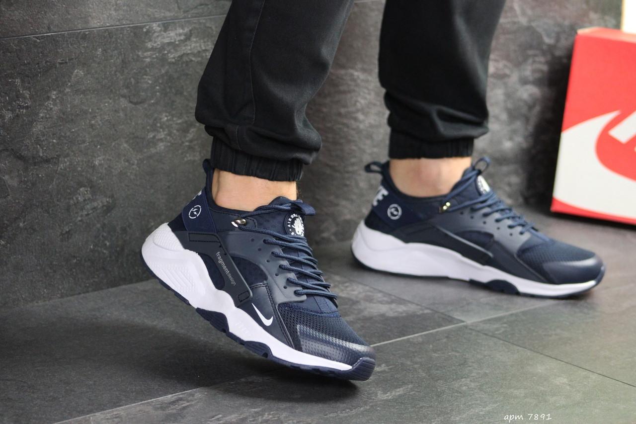 Мужские кроссовки (в стиле) Nike Air Huarache Fragment Design,темно синие