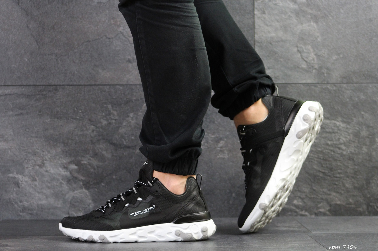 Мужские кроссовки (в стиле) Nike Undercover X Nike React Element 87,черно-белые