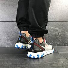 Мужские кроссовки (в стиле) Nike Undercover X Nike React Element 87,серые с красным, фото 3