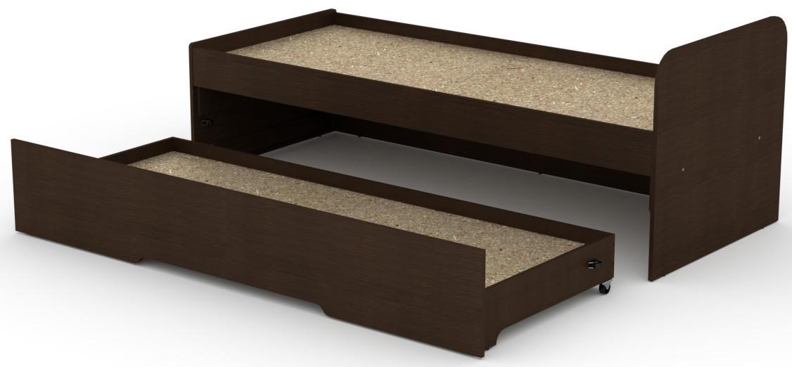 Кровать с выдвижным спальным местом КОМПАНИТ Кровать-80+70 Венге темный (204.2х84.6х75)