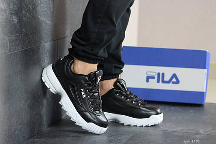 Мужские кроссовки (в стиле) Fila,черно белые, фото 2