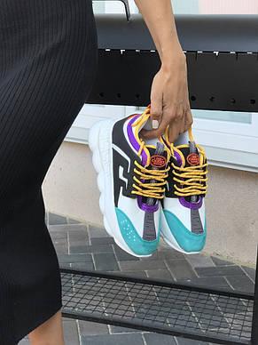 Женские кроссовки (в стиле) Versace,бирюзовые с желтым, фото 2