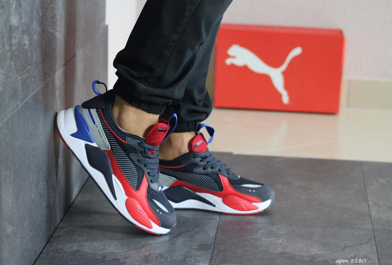 Мужские кроссовки (в стиле) Puma RS-X Hard Drive,темно синие с красным