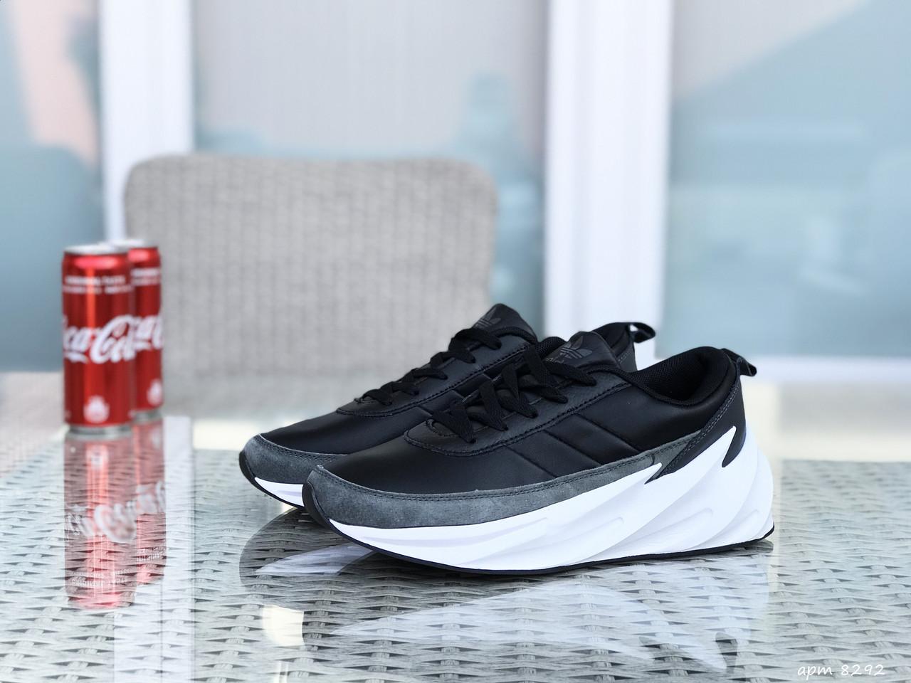 Мужские модные кроссовки (в стиле) Adidas Sharks,черно-серые с белым