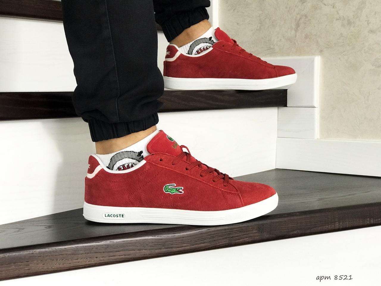 Мужские кроссовки (в стиле) Lacoste,красные,замшевые