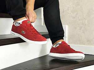 Мужские кроссовки (в стиле) Lacoste,красные,замшевые, фото 2