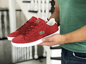 Мужские кроссовки (в стиле) Lacoste,красные,замшевые, фото 3