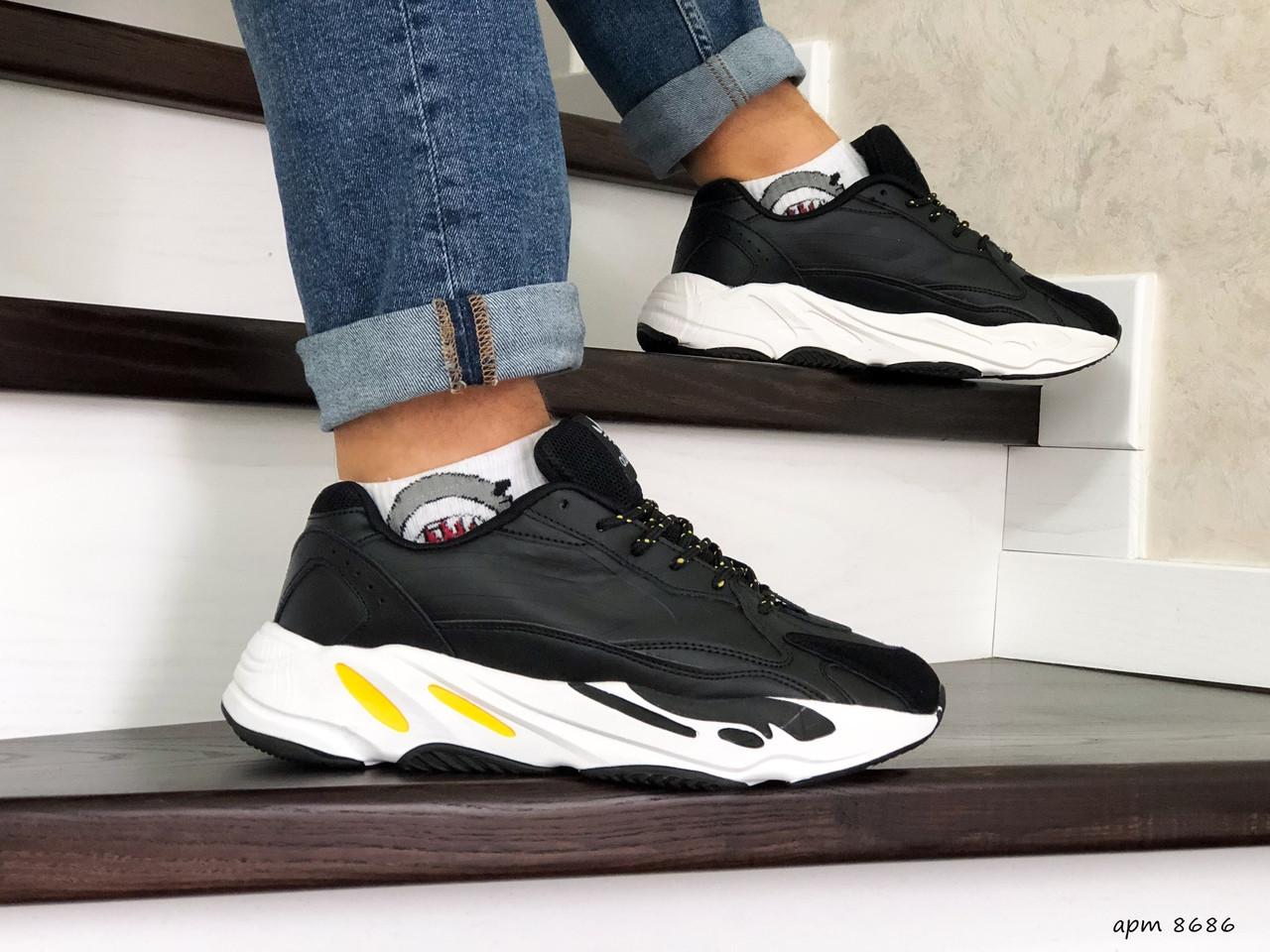 Мужские кроссовки (в стиле) Adidas Yeezy Boost 700,черно белые