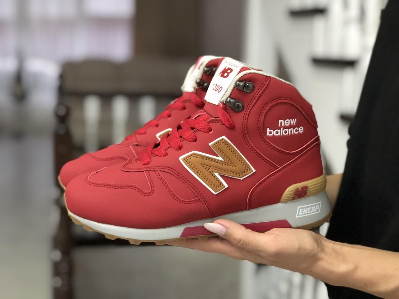Женские зимние кроссовки (в стиле) New Balance 1300,нубук,красные