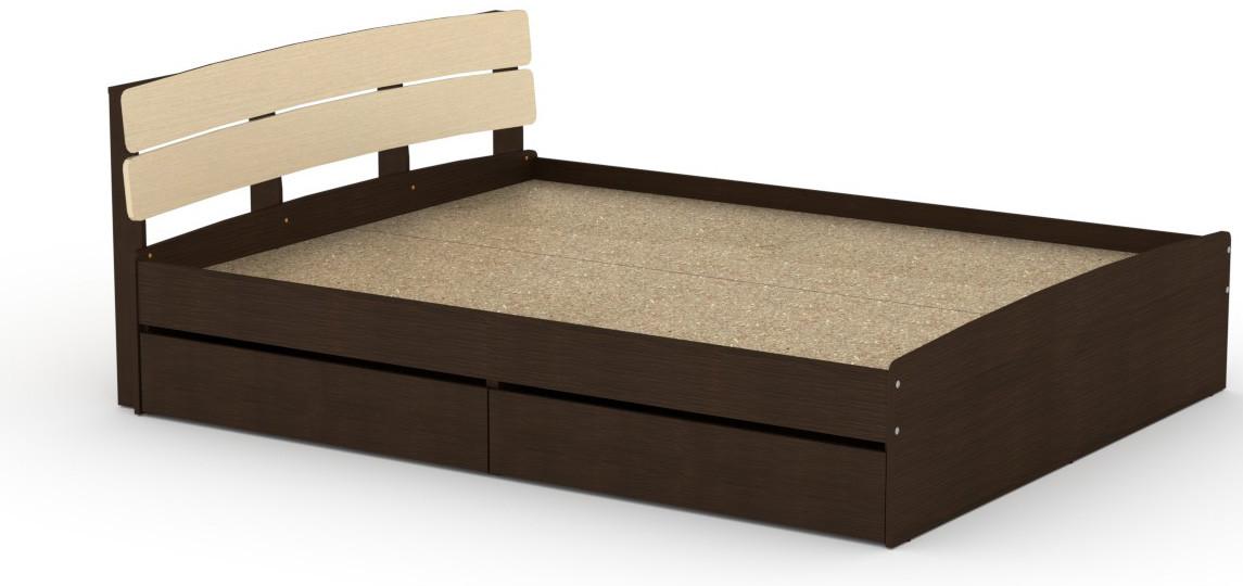 Кровать с 4 ящиками Модерн-160 КОМПАНИТ Венге комби (213.2х165.2х80 см)