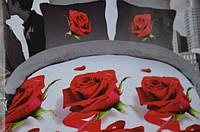 Постельное белье полуторное Лилия с HD - красные розы