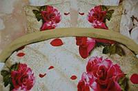 Постельное полуторное белье Лилия с эффектом HD на бежевом розы