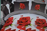 Постельное белье полуторное Лилия с эффектом HD цветы