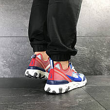 Мужские кроссовки (в стиле) Nike Undercover X Nike React Element 87,синие с красным, фото 3