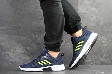 Кроссовки (в стиле) мужские Adidas ClimaCool,синие с салатовым, фото 2