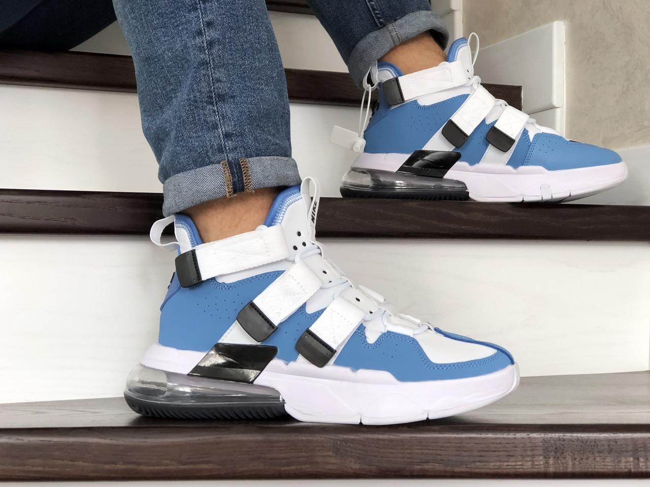Модные мужские кроссовки (в стиле) Nike Air Force 270, белые с голубым