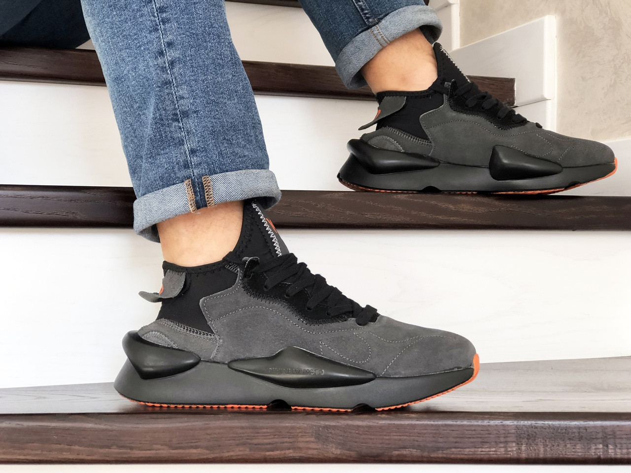 Кроссовки (в стиле) мужские Adidas Y-3 Kaiwa,замшевые,серые