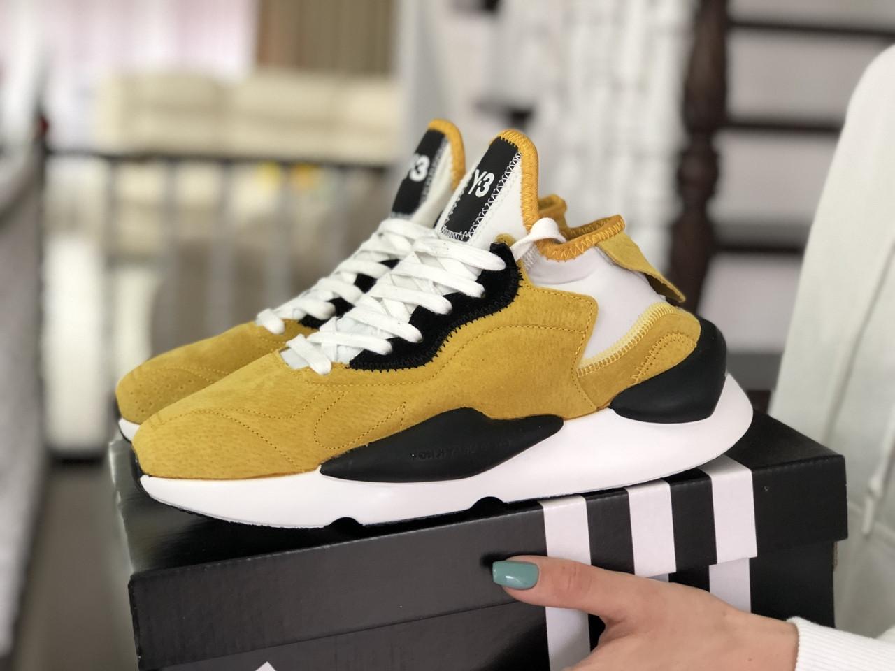 Кроссовки (в стиле) женские Adidas Y-3 Kaiwa замшевые,желтые (горчичные)