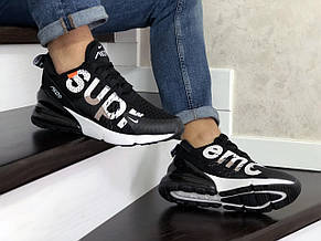 Модные кроссовки (в стиле) Nike air max 270 x Supreme,черно белые, фото 2