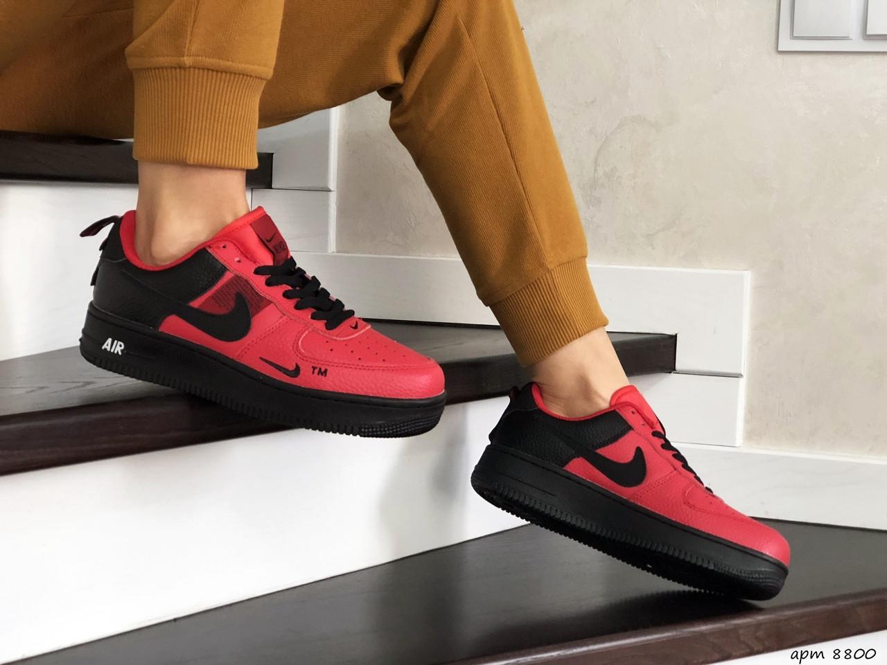 Подростковые (женские) кроссовки (в стиле) Nike Air Force,красные с черным