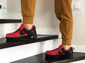 Подростковые (женские) кроссовки (в стиле) Nike Air Force,красные с черным, фото 3