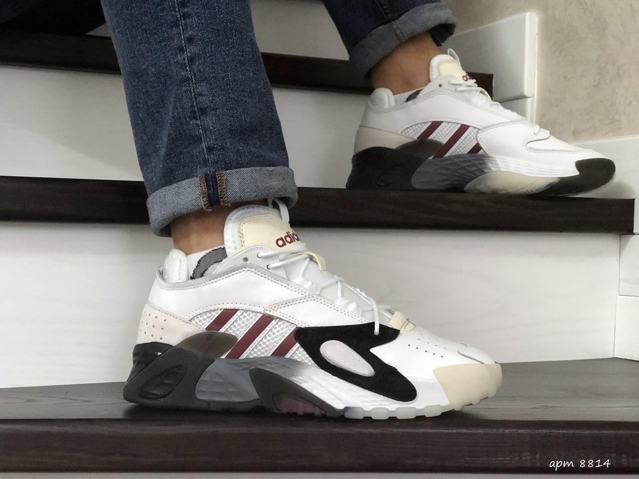 Мужские кроссовки (в стиле) Adidas Streetball,белые с бордовым