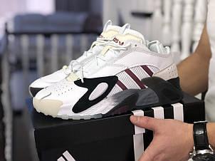 Мужские кроссовки (в стиле) Adidas Streetball,белые с бордовым, фото 2
