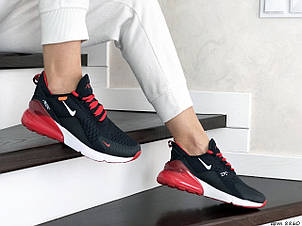Женские кроссовки (в стиле) Nike Air Max 270,сетка,темно синие с красным, фото 2