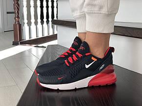 Женские кроссовки (в стиле) Nike Air Max 270,сетка,темно синие с красным, фото 3
