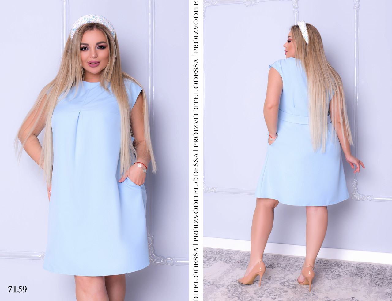 Плаття літнє без рукав вільного фасону плательный креп 46-48,50-52,54-56,58-60