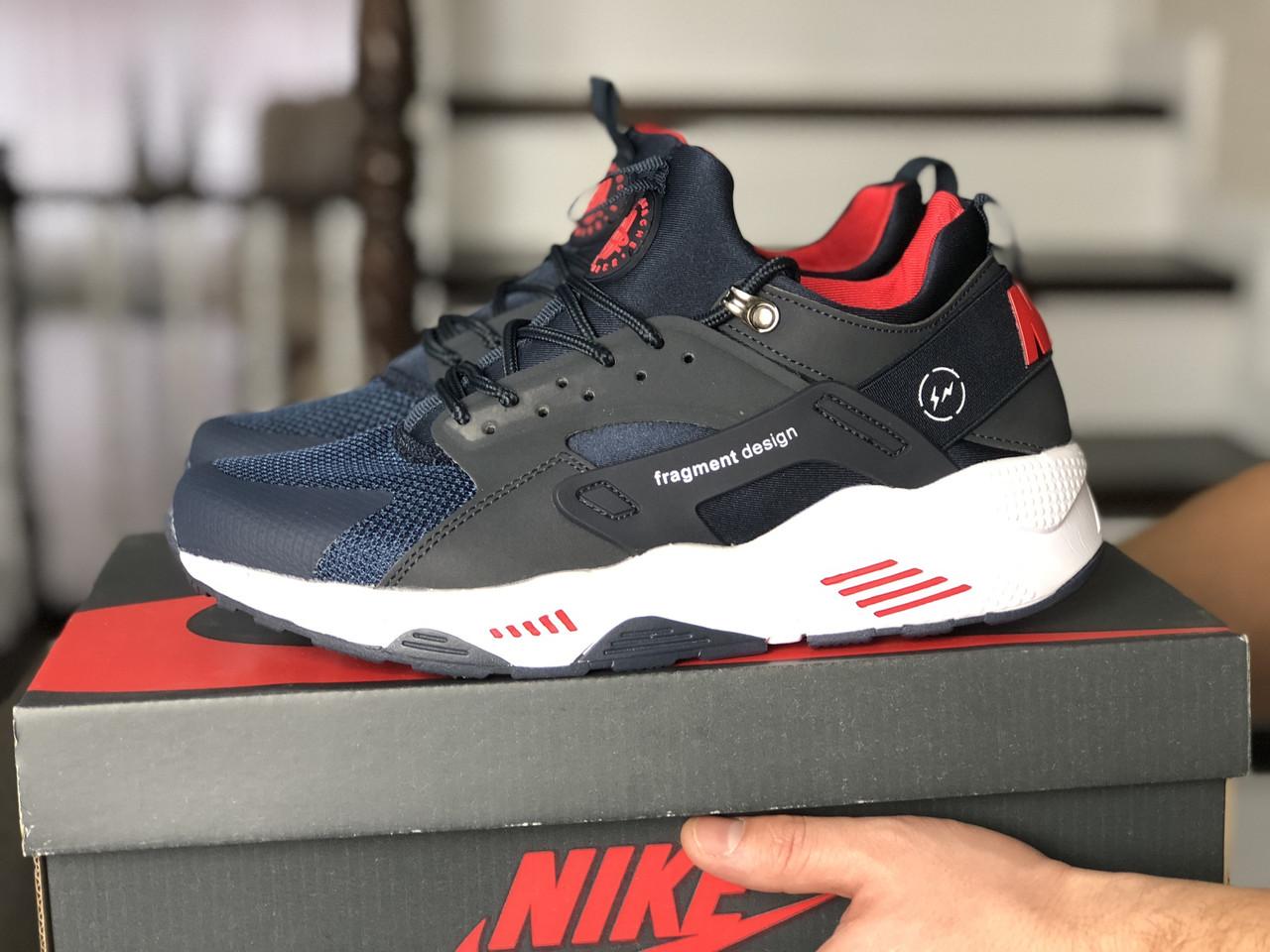 Мужские кроссовки (в стиле) Nike Air Huarache Fragment Design,темно синие с белым