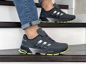 Кроссовки (в стиле) Adidas Marathon TR,сетка,темно серые с салатовым, фото 2