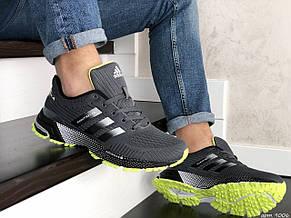 Кроссовки (в стиле) Adidas Marathon TR,сетка,темно серые с салатовым, фото 3