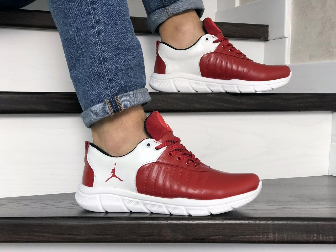 Мужские модные кроссовки (в стиле) Nike Air Jordan,кожаные,красные с белым