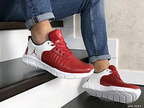 Мужские модные кроссовки (в стиле) Nike Air Jordan,кожаные,красные с белым, фото 3