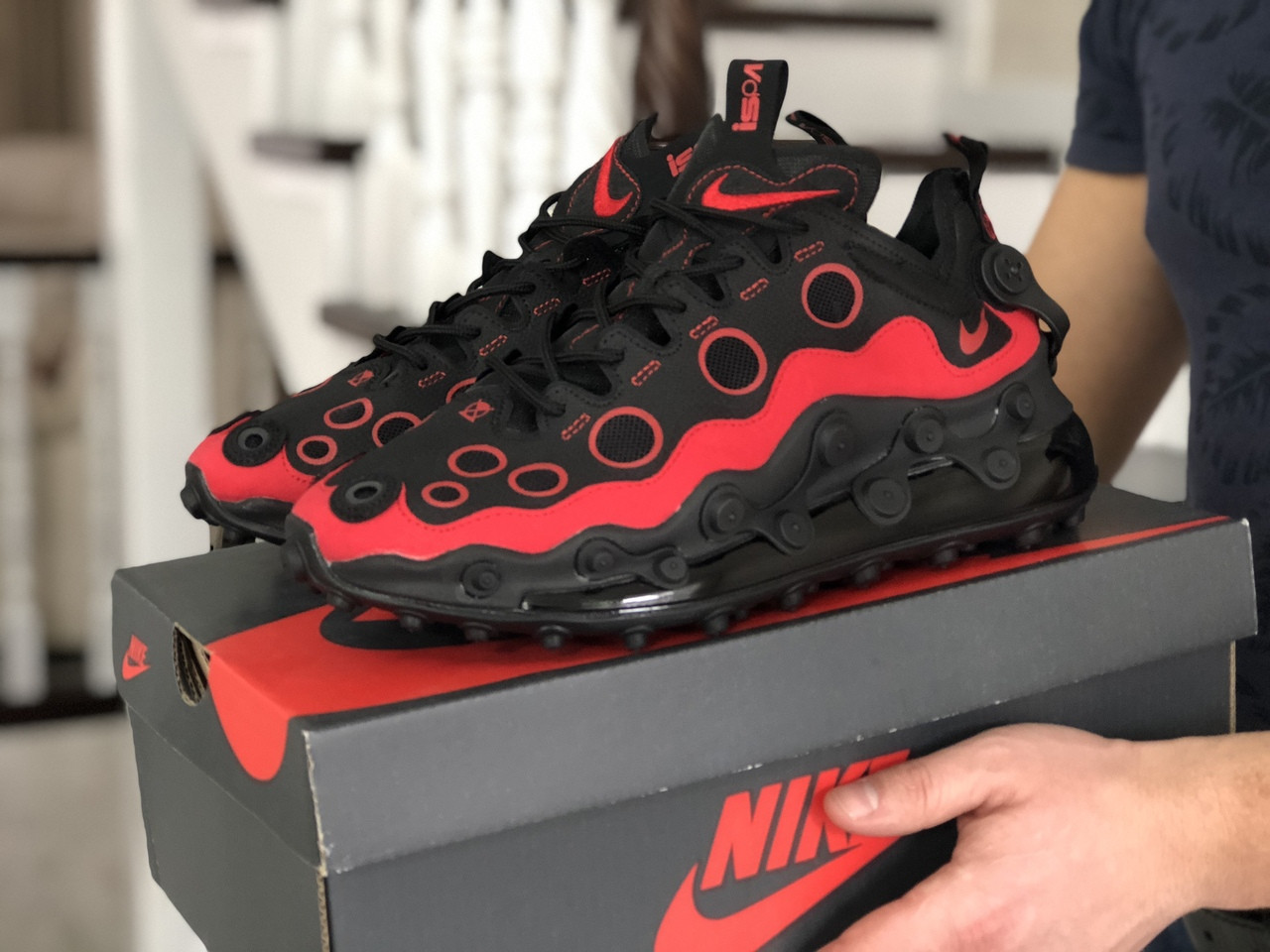 Мужские кроссовки (в стиле) Nike air max 720 ISPA,черные с красным
