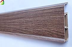 Плінтус Ідеал Система 291 Горіх 80 мм пластиковий для підлоги, IDEAL високий з м'якими краями