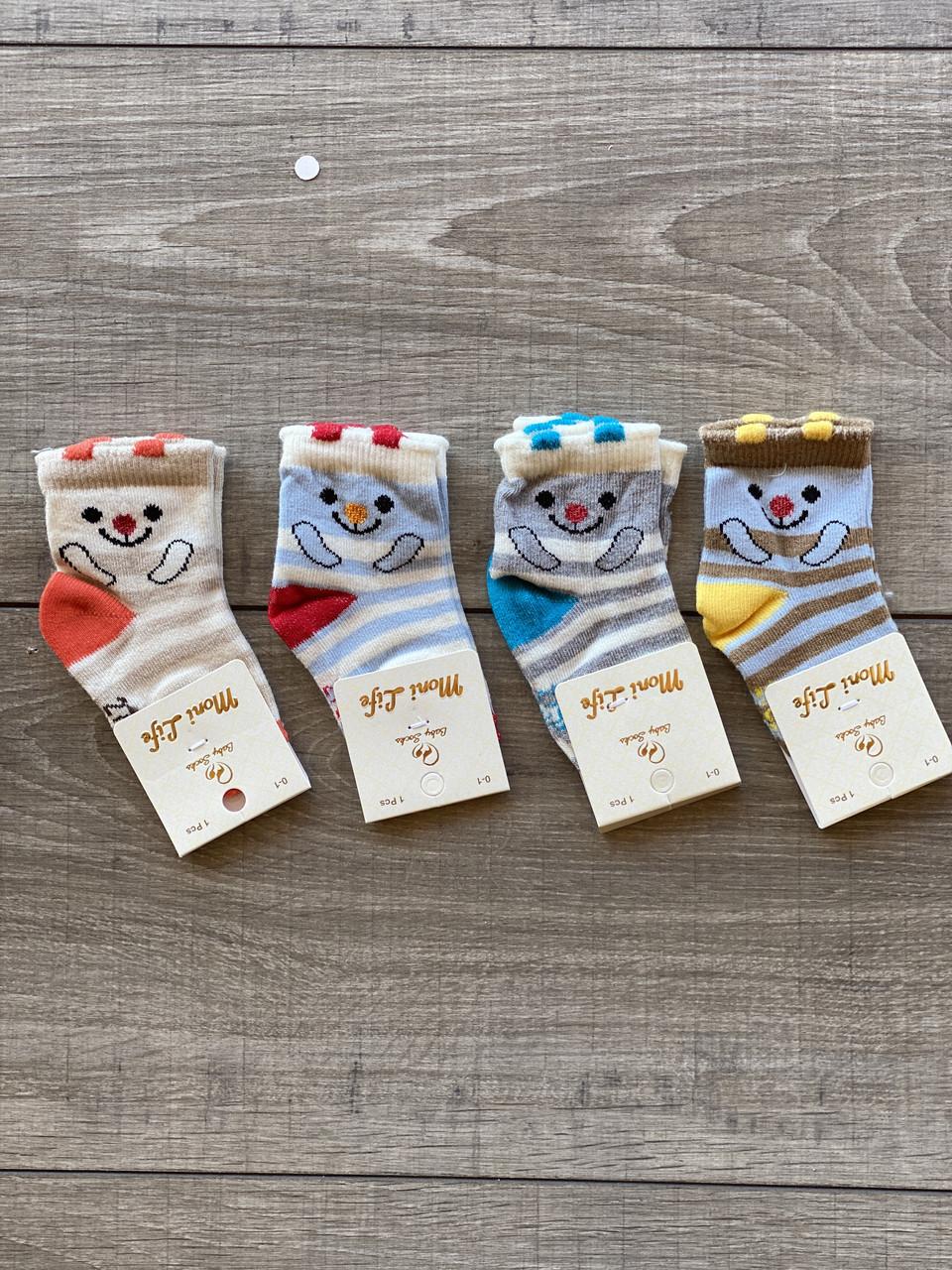 Шкарпетки Moni Life для немовлят бавовна для дівчаток і хлопчиків 0-1 рік 12 шт в уп мікс 4 кольорів