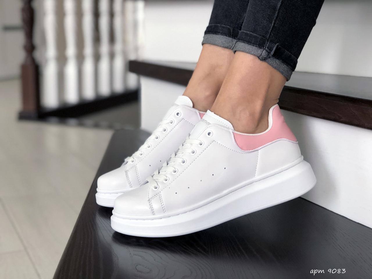 Кроссовки (в стиле) женские,подростковые Alexander McQueen,белые с розовым