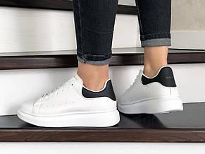 Кроссовки (в стиле) женские,подростковые Alexander McQueen  ,белые с черным, фото 2