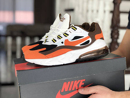 Модные кроссовки (в стиле) Nike Air Max 270 React,белые с оранжевым, фото 2