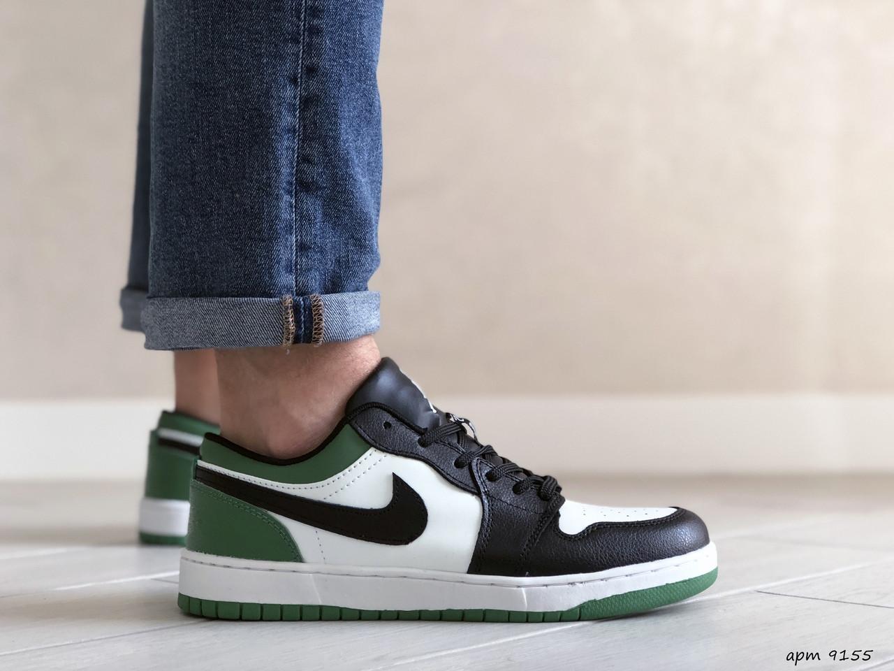 Мужские весенние кроссовки (в стиле) Nike Air Jordan 1 Low, черно белые с зеленым