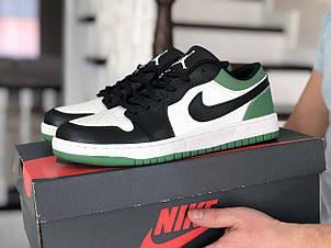 Мужские весенние кроссовки (в стиле) Nike Air Jordan 1 Low, черно белые с зеленым, фото 2
