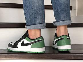 Мужские весенние кроссовки (в стиле) Nike Air Jordan 1 Low, черно белые с зеленым, фото 3