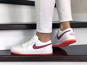 Женские кроссовки (в стиле) Nike Air Jordan 1 Low,белые с розовым, фото 3