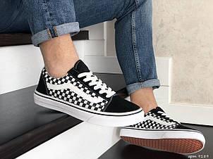 Мужские кеды (в стиле) Vans,замшевые,черно белые, фото 2