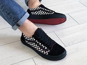 Мужские кеды (в стиле) Vans,замшевые,черно белые/красные, фото 3