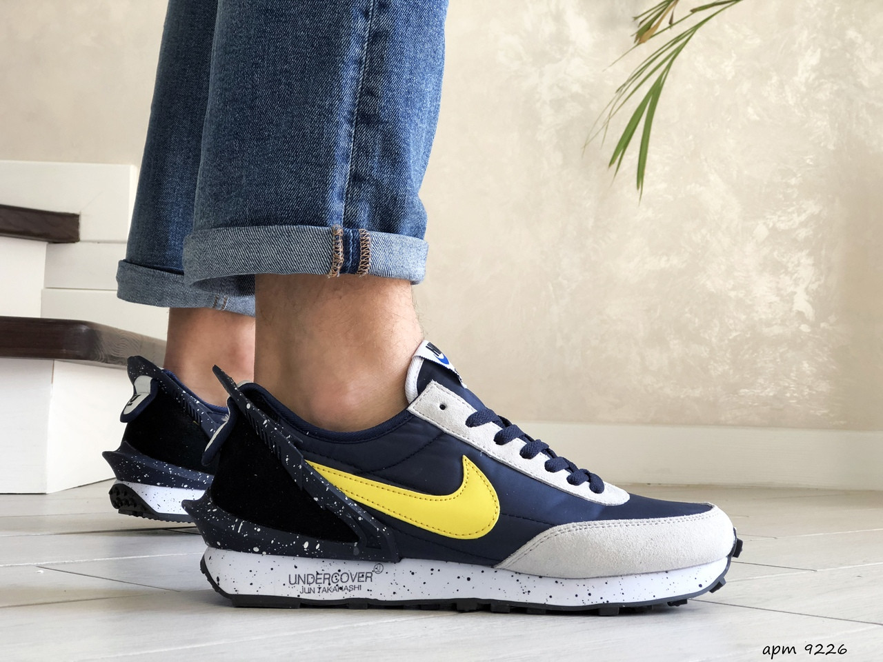 Мужские кроссовки (в стиле) Nike Undercover Jun Takahashi,темно синие с желтым